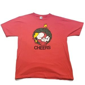 Vintage Peanuts Men's XL Snoopy Christmas T-Shirt